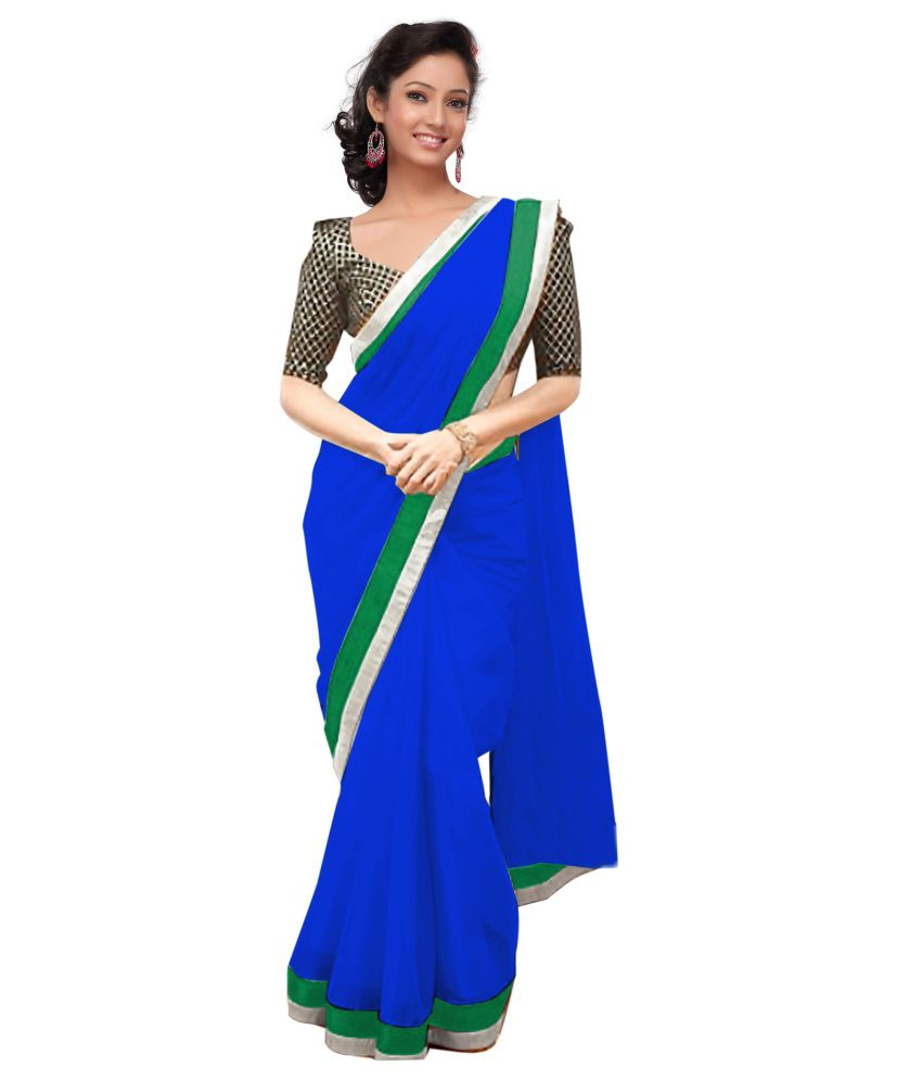 Fashion Style Blue Faux Georgette Border Work Saree With Blouse Piece Buy Fashion Style Blue