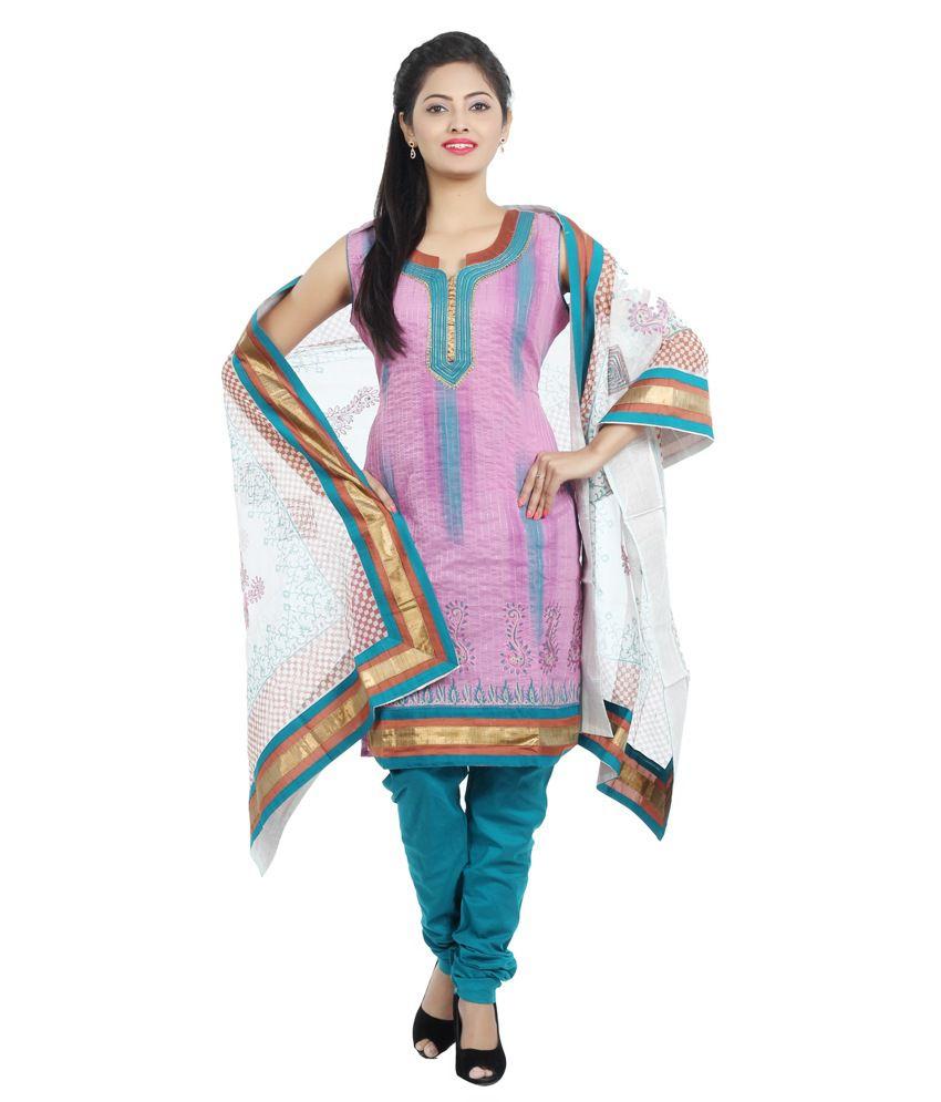 Idha Blue Chanderi Straight Fit Lace Salawar Suit