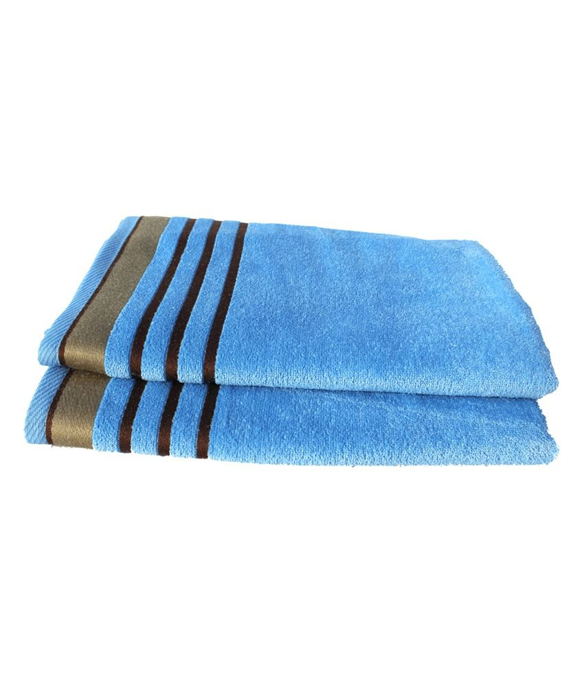Mandhania Blue Cotton Knitted Terry Towel Set - Set Of 2