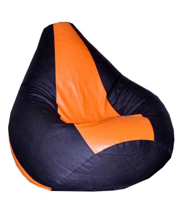 XL Bean Bag with Beans in Black  amp; Orange