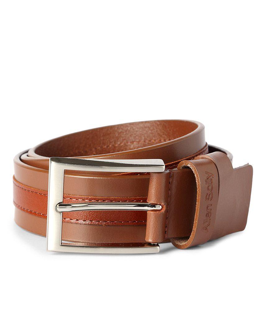 Allen Solly Tan Brown Leather Dual End Loop Belt