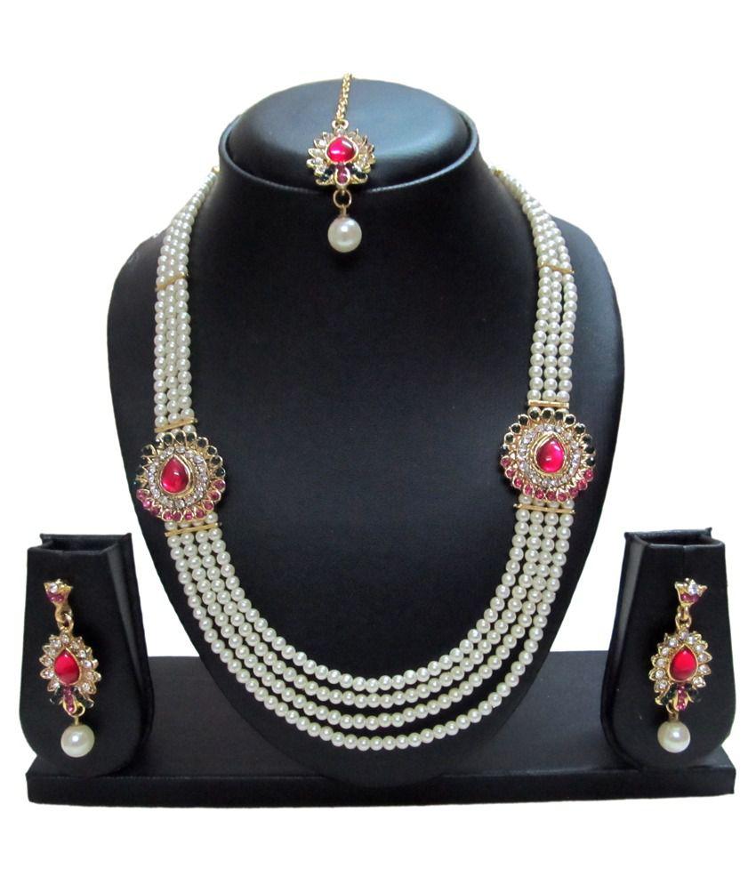 Mahavir Enterprise V547 PG Diamond Traditional Pearl Necklace Set