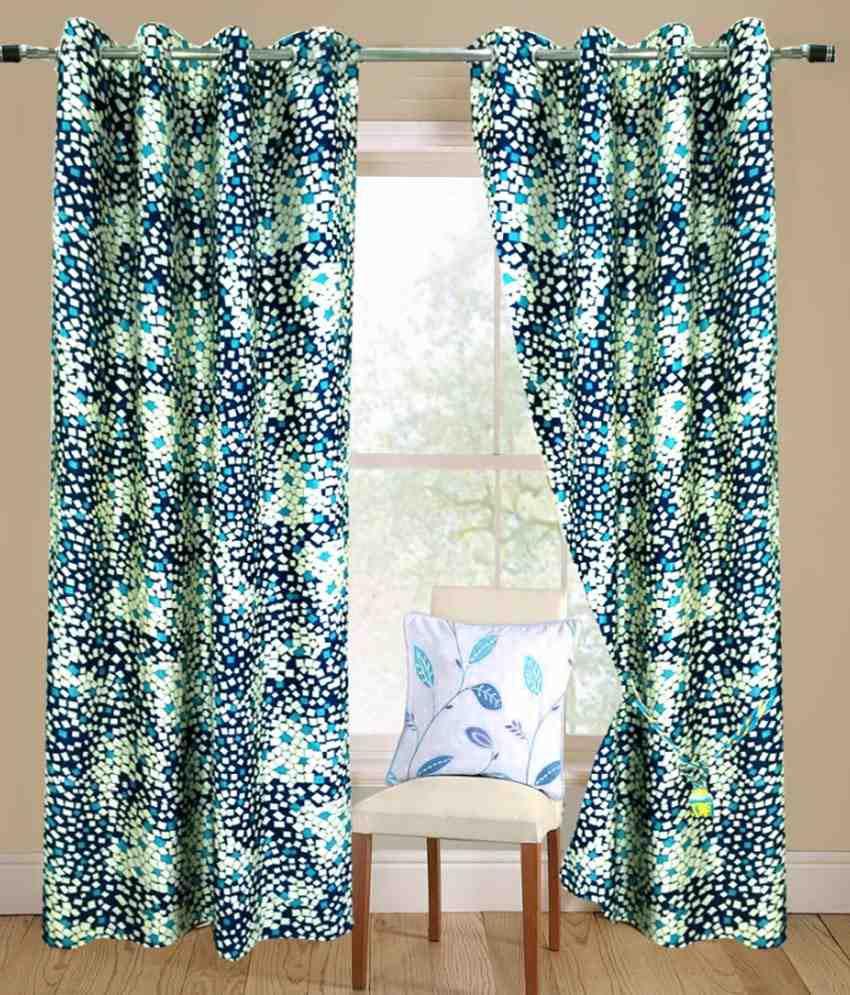 Homefab India Set of 2 Window Eyelet Curtains Geometrical Blue