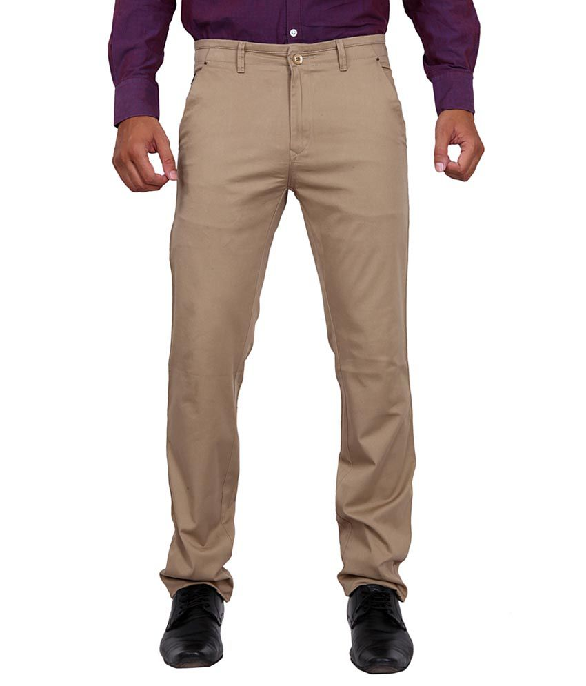 K-Nop Khaki Cotton Lycra Casual Trouser