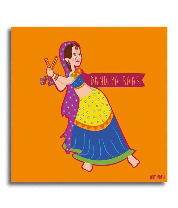 Art Potli dandiya raas canvas Canvas Painting With Frame Single Piece
