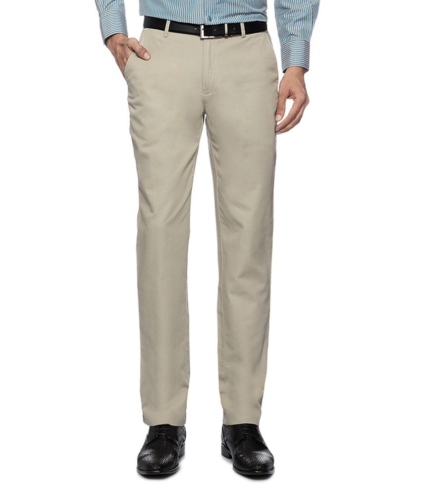 Peter England Beige Flat Front Formal Trousers