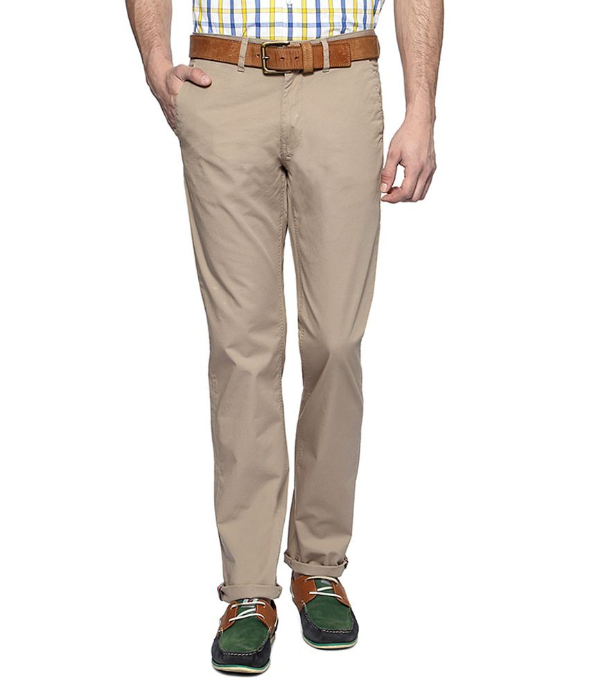 Peter England Beige Slim Fit Casual Trousers