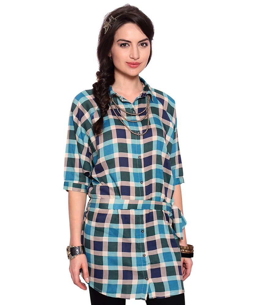 Buy People Blue Check Belted Shirt Dress Online At Best
