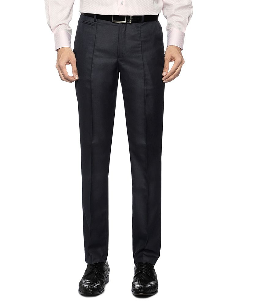 Peter England Dark Blue Solid Formal Trousers