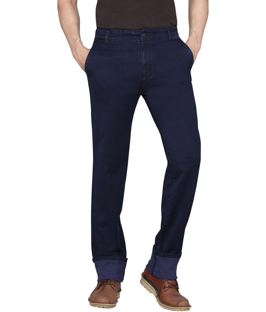 Dragaon Jeans Blue Cotton Blend Regular Fit Jeans