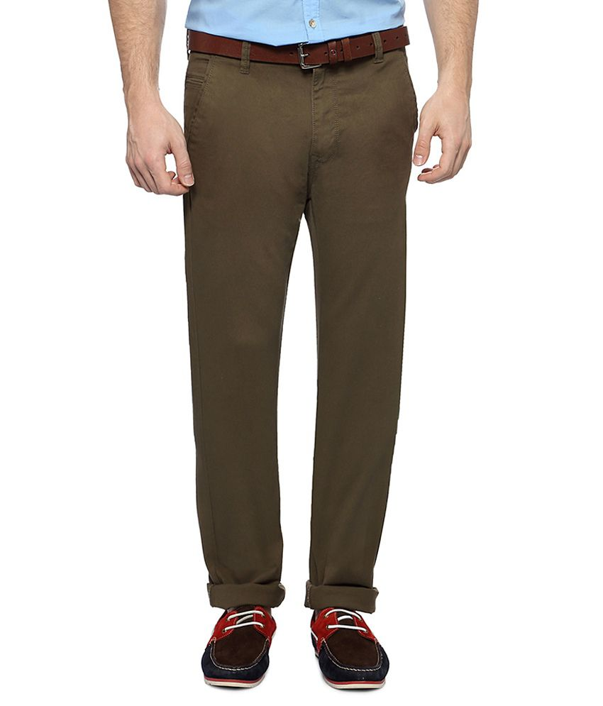 Peter England Olive Casual Ultra Slim Fit Trousers