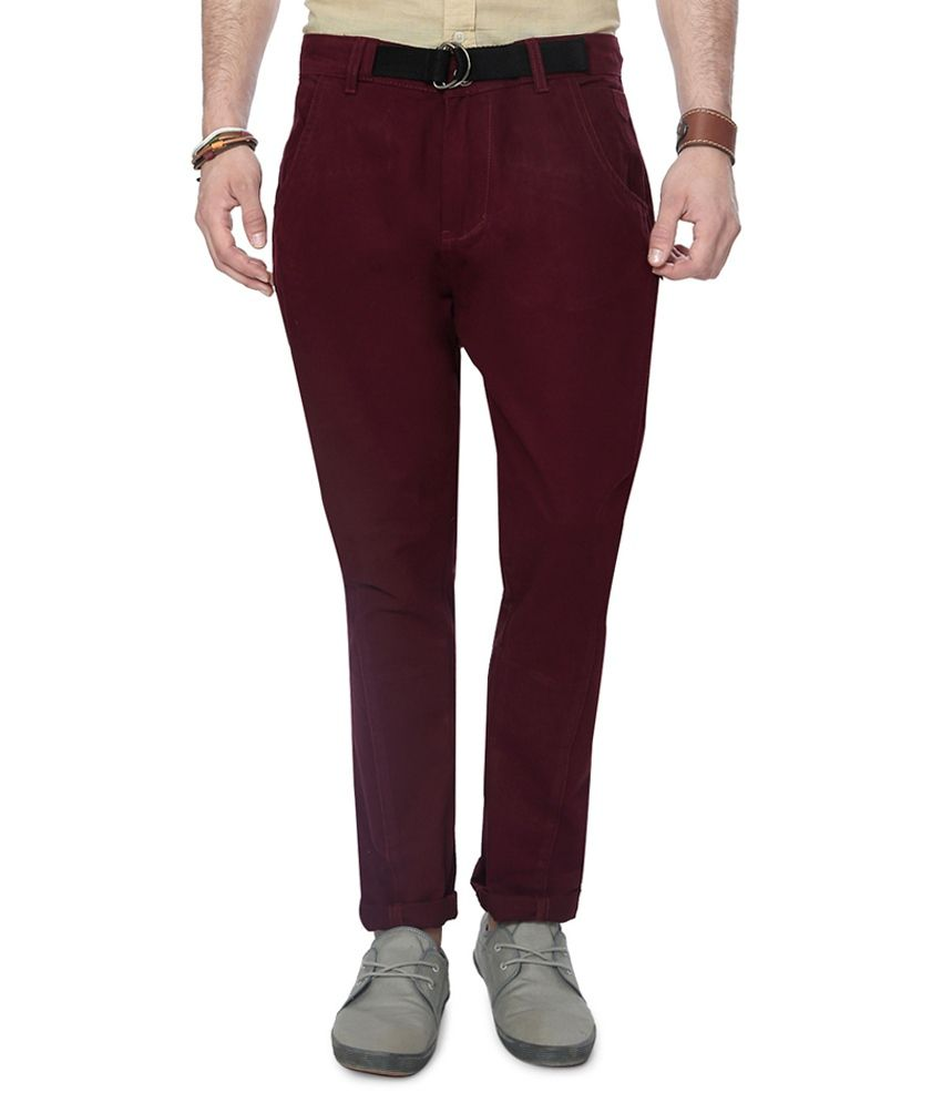 People Maroon Colour Casuals Trousers