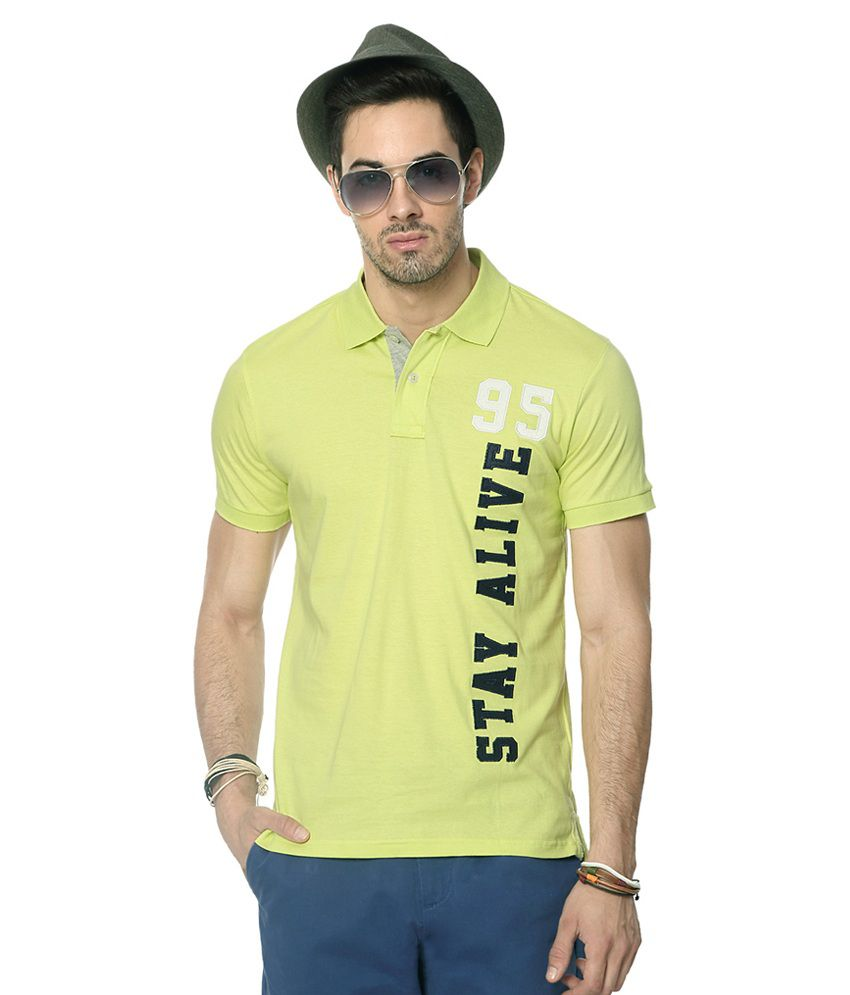 People Yellow Cotton Solid Slim Fit Half Sleeves T-Shirts