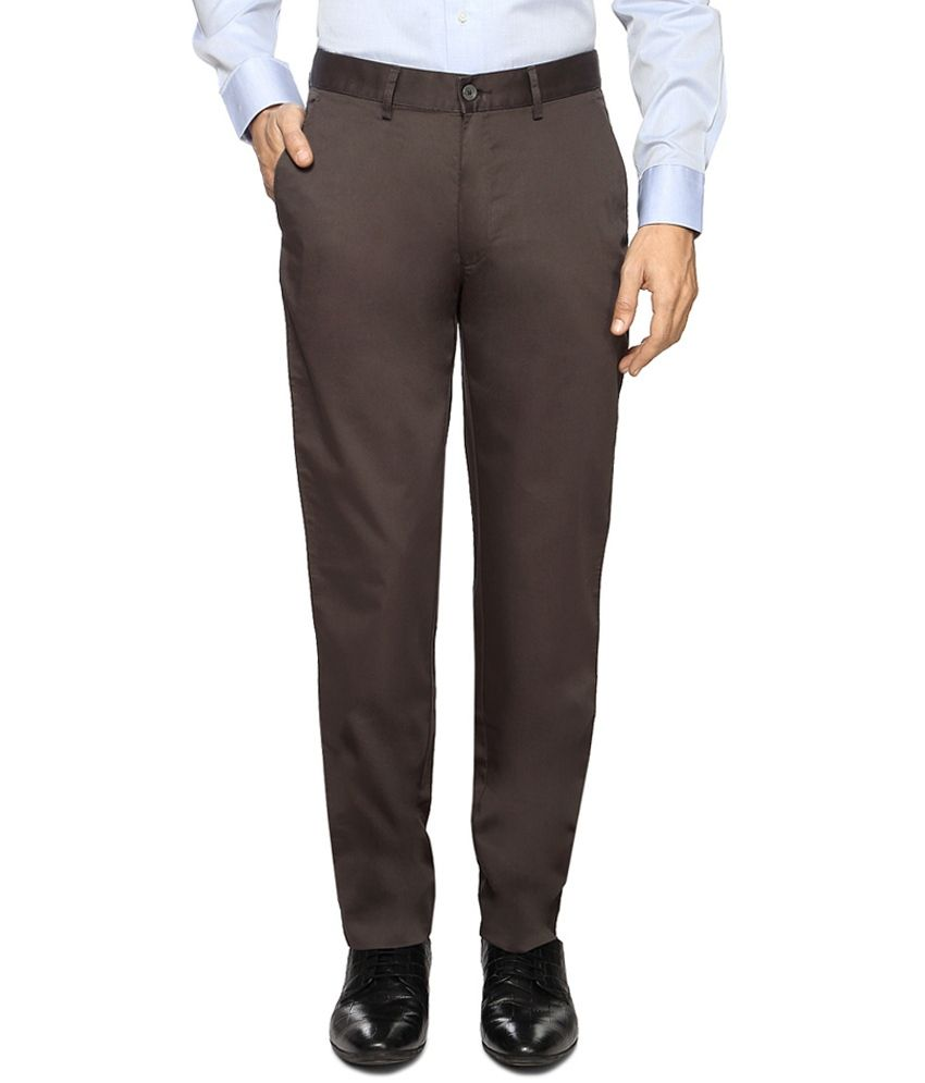 Peter England Brown Colour Casuals Trousers
