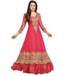 Ks Fashion Pink Faux Georgette Embroidered Anarkali Gown Dress Material