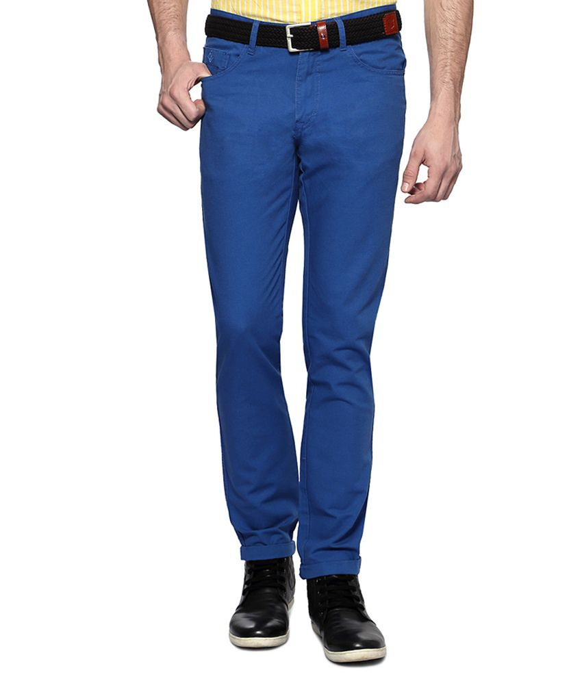 Allen Solly Blue Casual Slim Fit Flat Front Trousers