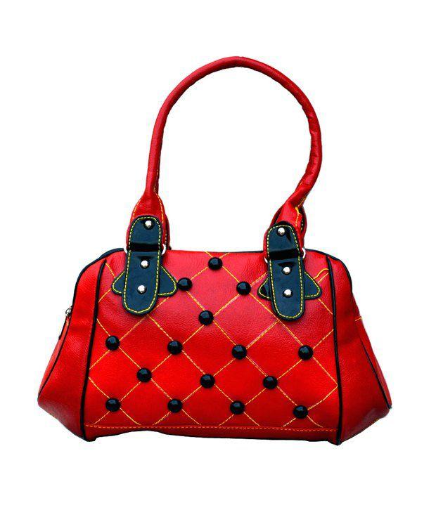 Ambrosia Bag Red P.U. Zip Shoulder Bags For Women