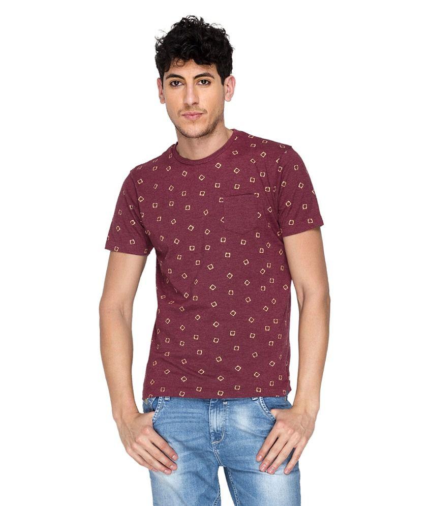 Blumerq Brown Printed Cotton Round Neck Half Sleeves T-Shirt