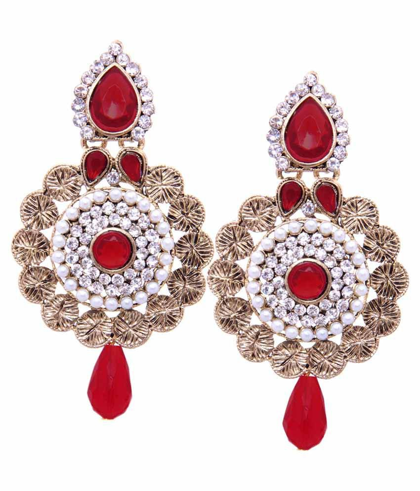 Tradisyon Alloy Bollywood Celebrity Style Diva Double Tone Red & White With Golden Base Drop Earring By Kaizer