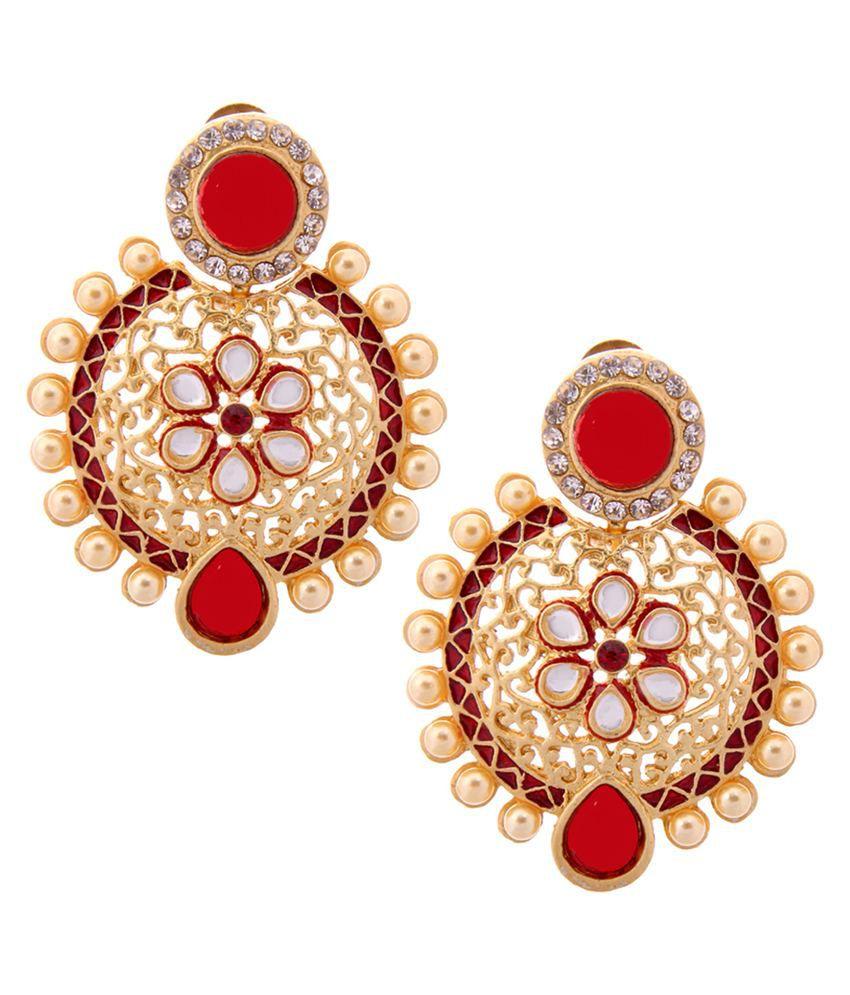 Tradisyon Bollywood Celebrity Inspired Style Diva Red Chandelier Earrings