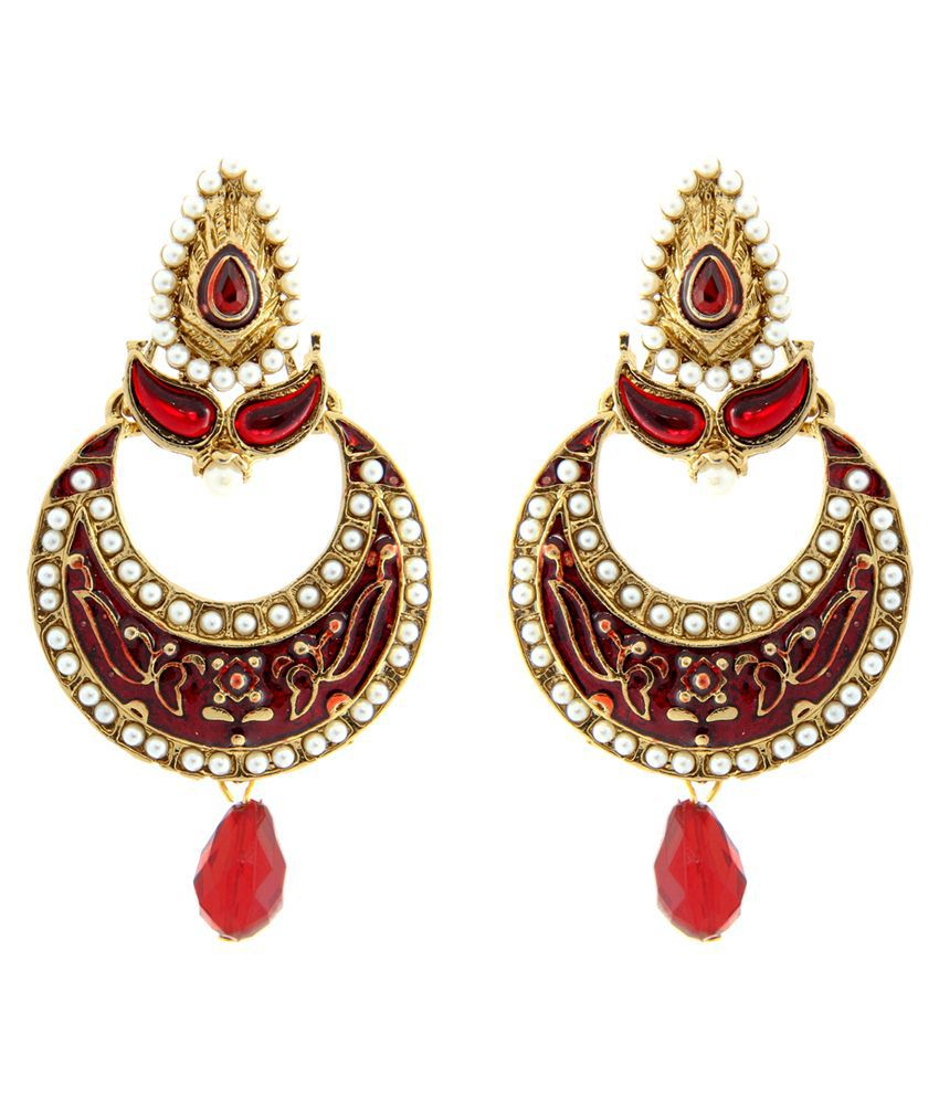 Tradisyon Bollywood Inspired Crown Style Red Traditional Every Occassion Earring By Kaizer