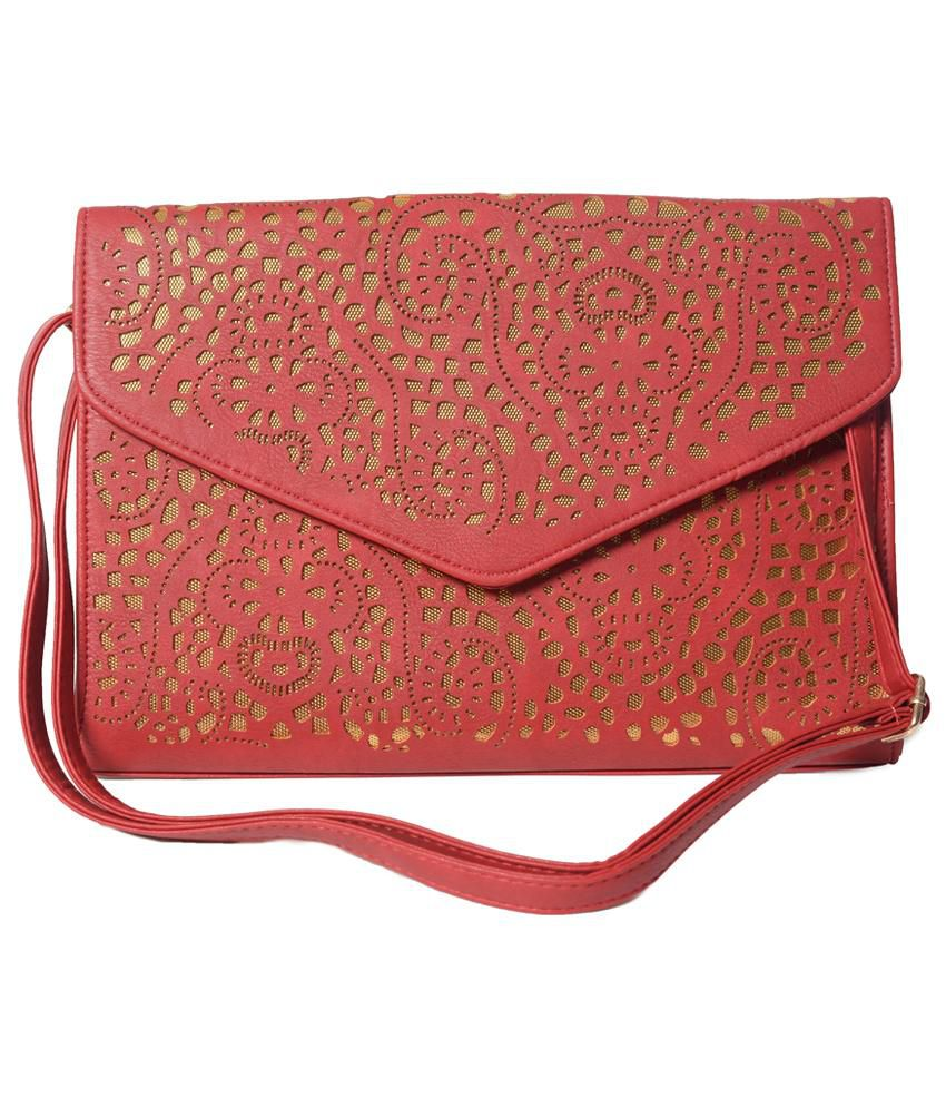 Hotberries Red Non Leather Magnit Button Clutch