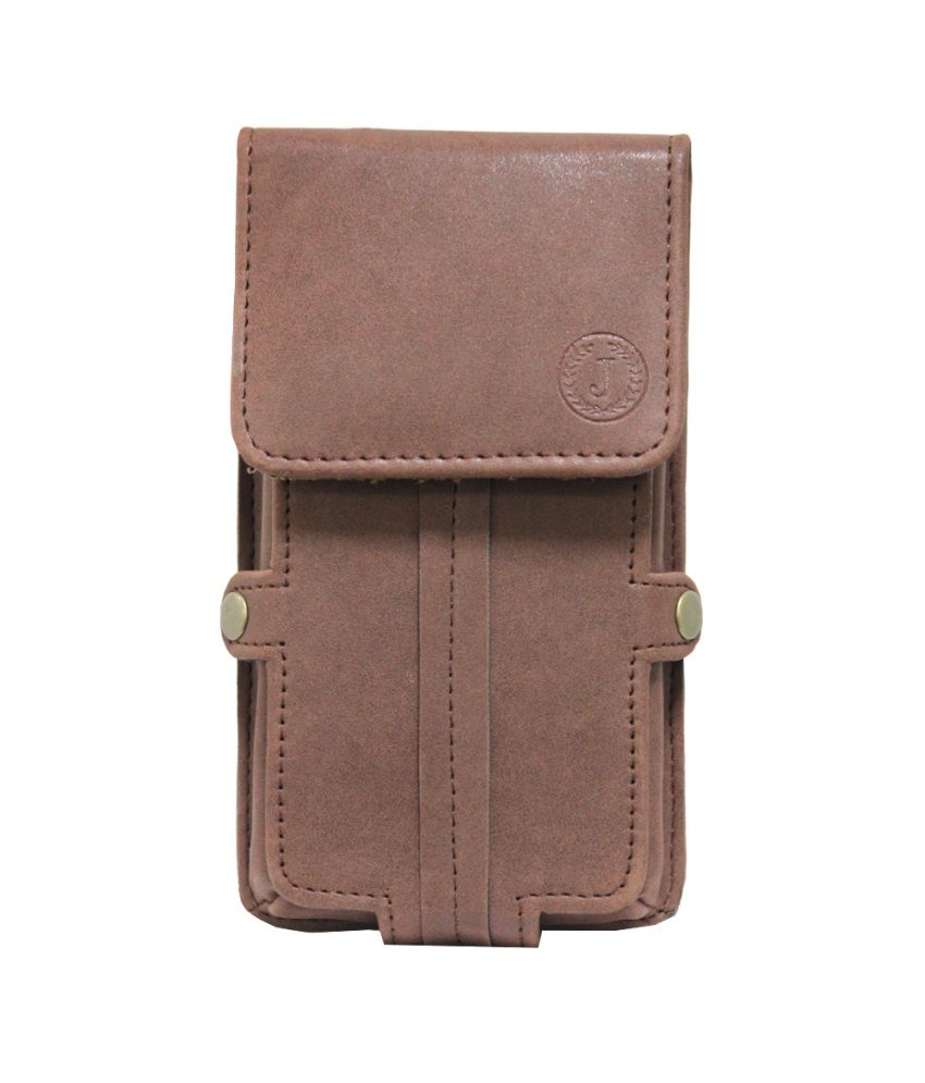 Jo Jo A6 Nillofer Series Leather Pouch Holster Case For Micromax X228+ Dark Brown