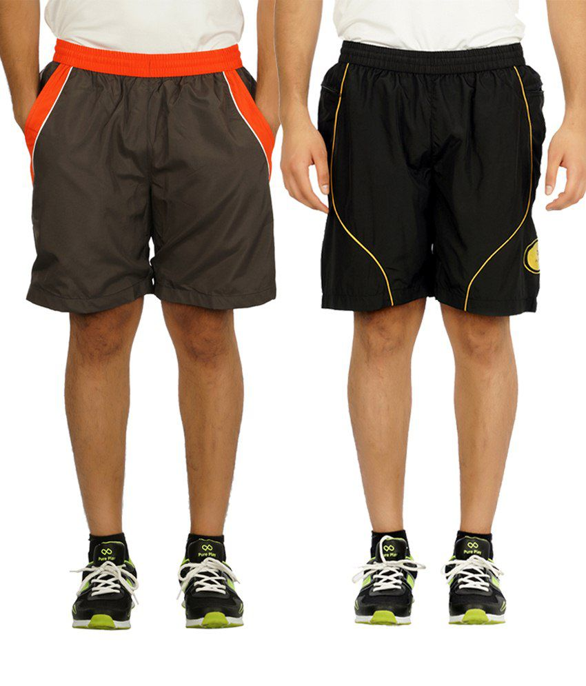 Pure Play Pack Of 2 Gray & Black Polyester Running Shorts