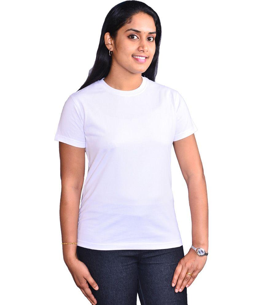 Buy Zorba White Color Plain Round Neck Women's Cotton T ...