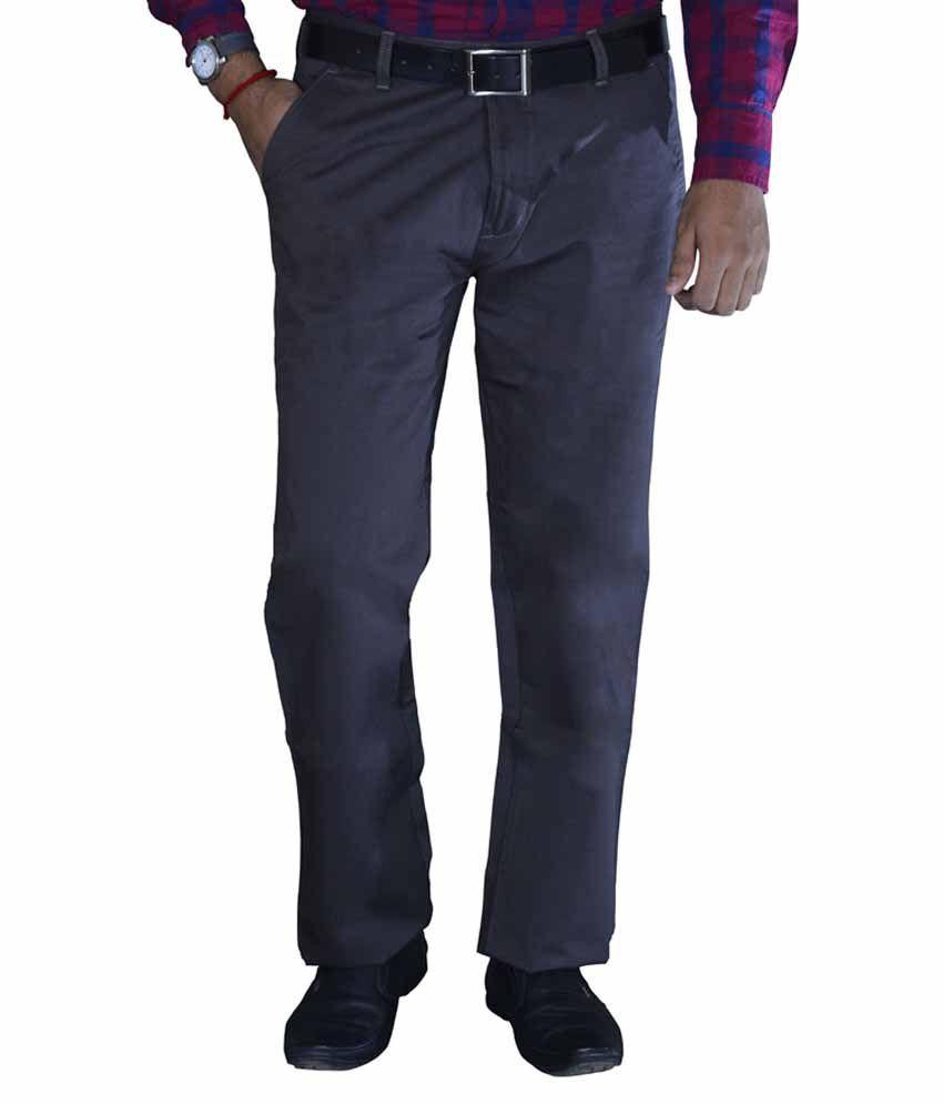 Studio Nexx Gray Cotton Regular Fit Casual Chinos Trouser