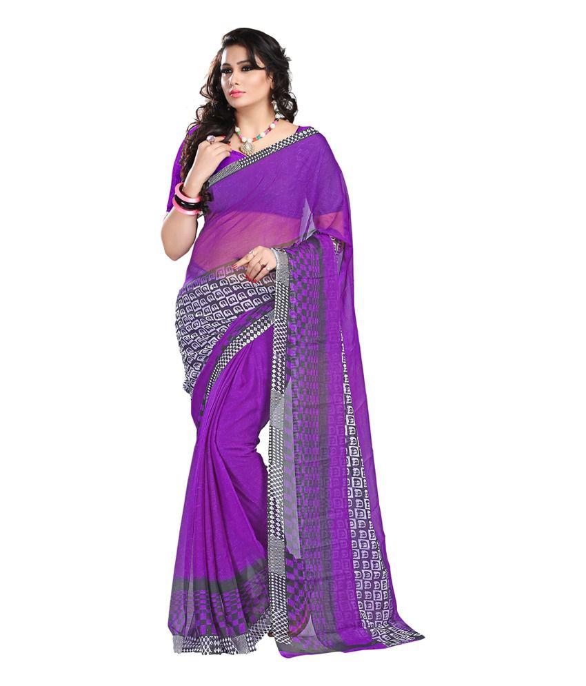Ansh Prints Purple Faux Georgette Plain Saree With Blouse Piece