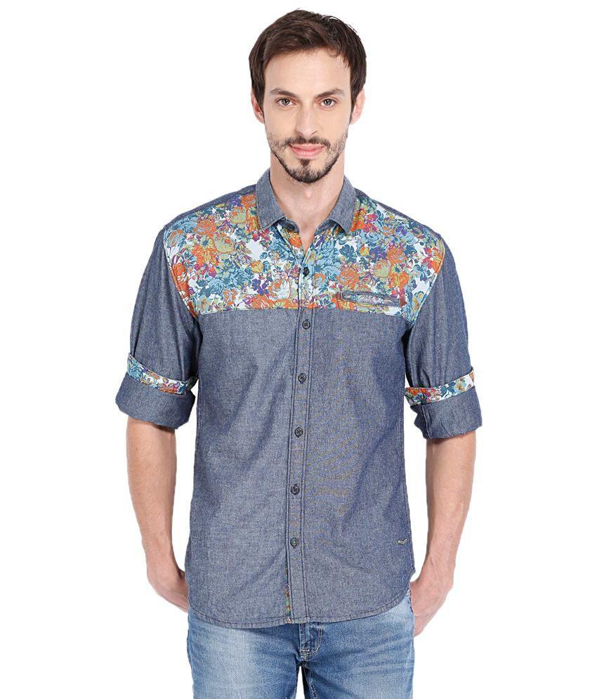 Locomotive nice blue casual half sleeve shirt for men for Nice shirts for men