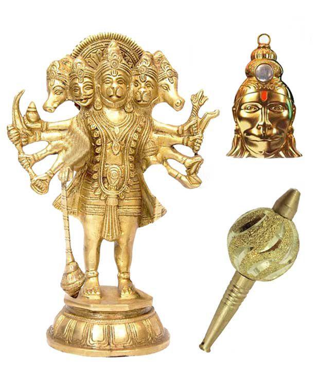 Shiv Jyotish Kendra Panchmukhi Hanuman Idol With Hanuman Locket and Gada