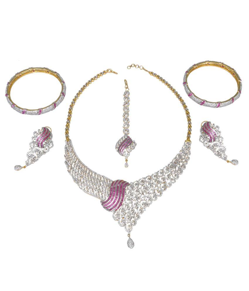Sri Balaji Ornaments Silver Silver Necklace Set With Maang Tika