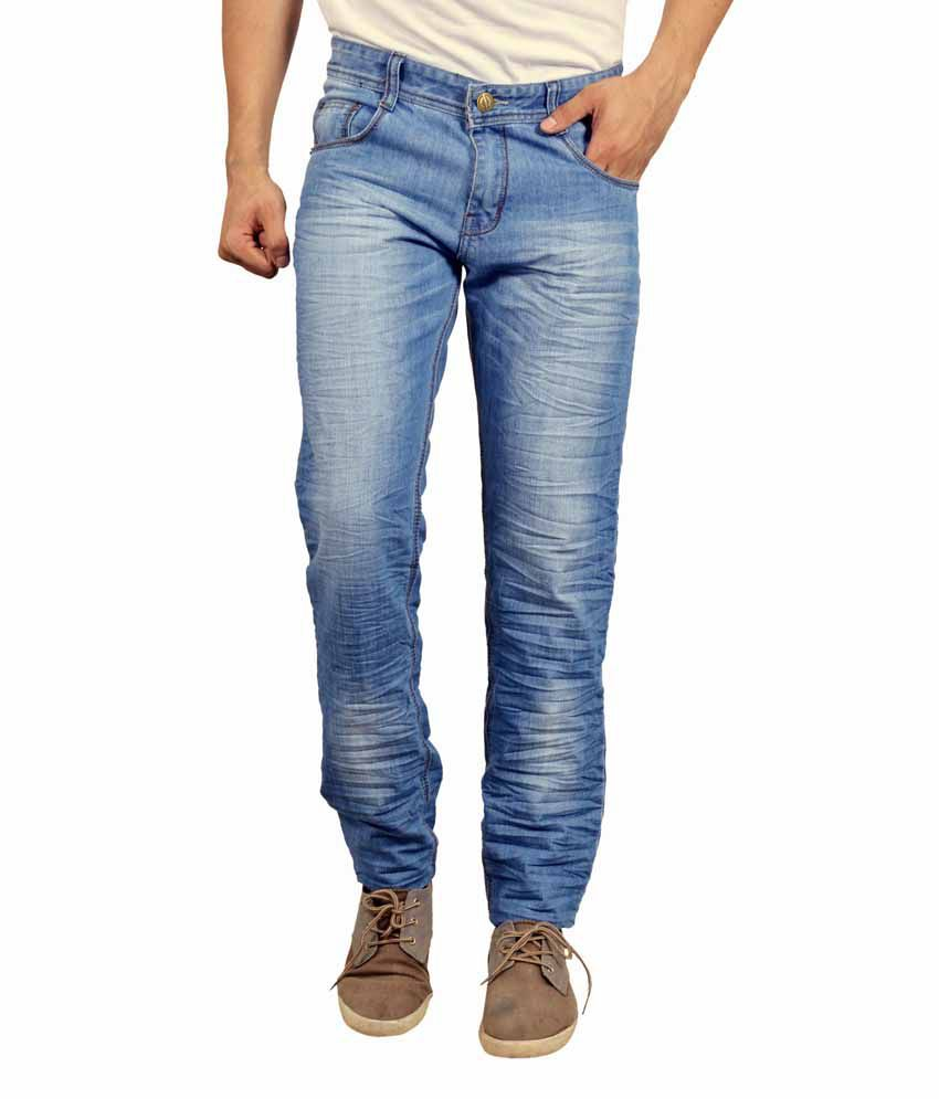 Studio Nexx Blue Cotton Slim Fit Mid Rise Faded Jeans