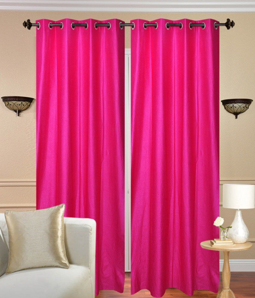 Fresh From Loom Set of 2 Door Eyelet Curtains Solid Pink