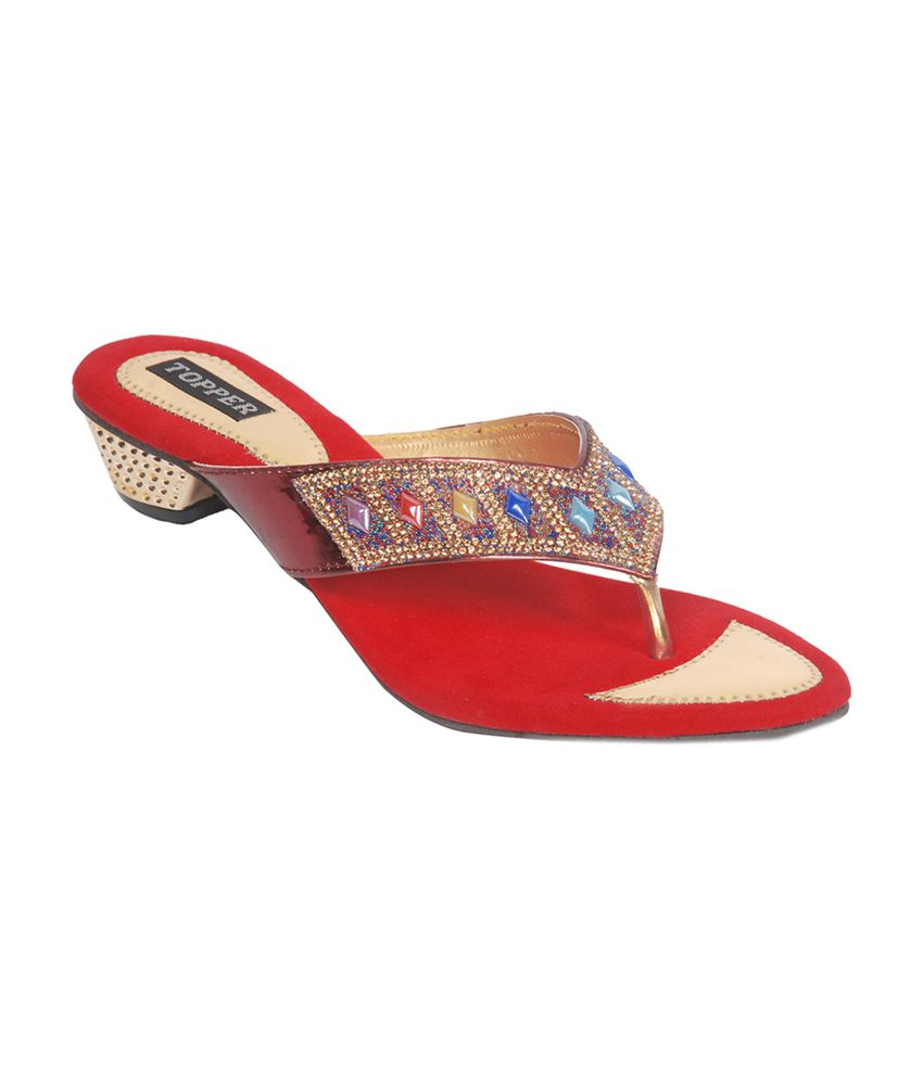 Harshit Footwear  Red Patent Stripe Heeled Slip Ons