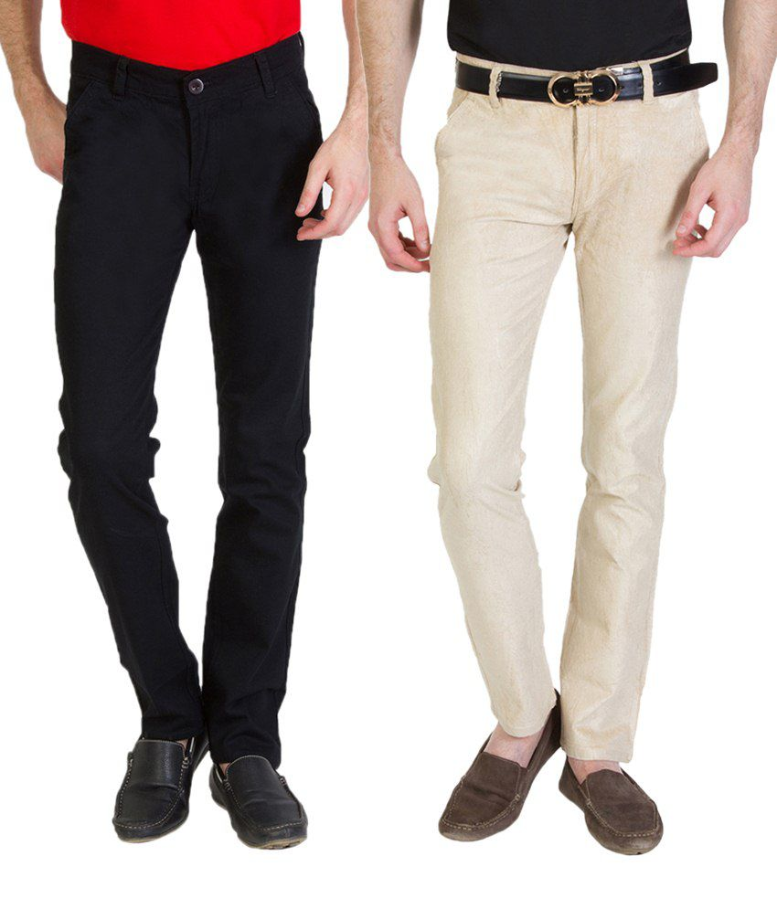 Bloos Jeans Awesome Combo Of 2 Jet Black & Beige Chinos For Men