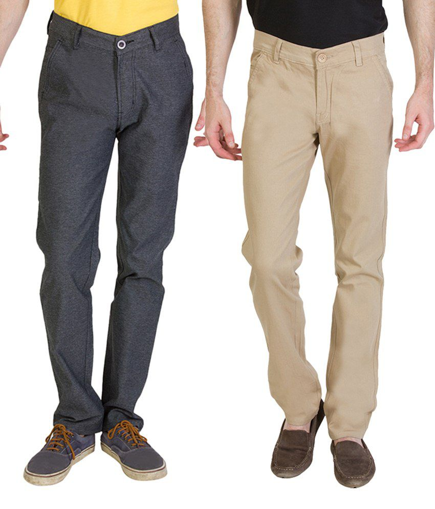 Bloos Jeans Classic Combo Of 2 Beige & Gray Trousers For Men