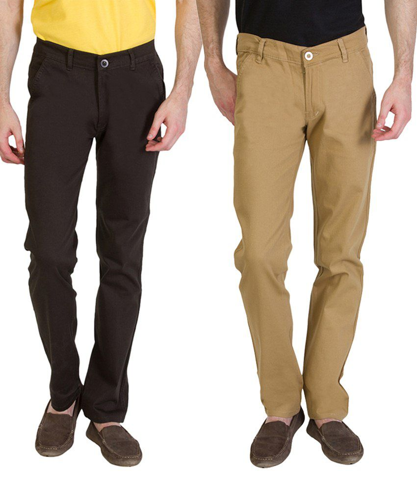Bloos Jeans Combo Of 2 Brown & Gray Chinos For Men