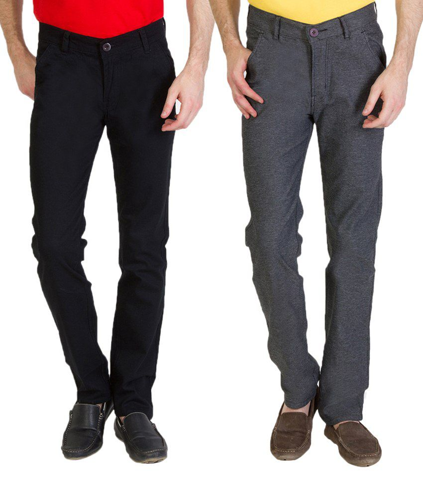 Bloos Jeans Must Try Combo Of Steel Gray Trousers & Black Chinos For Men
