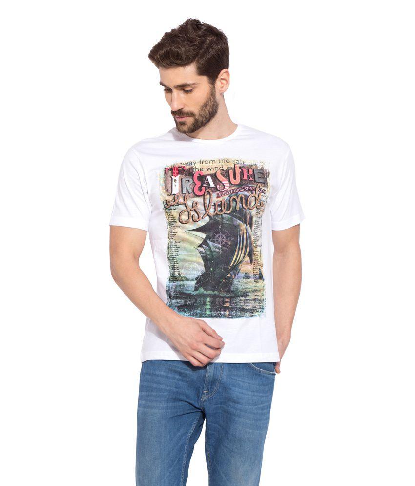 Globus White Cotton T-Shirt