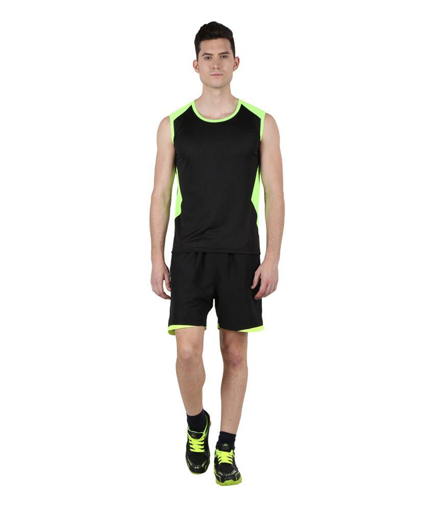 Klamotten Black & Green Polyester Running T-Shirt