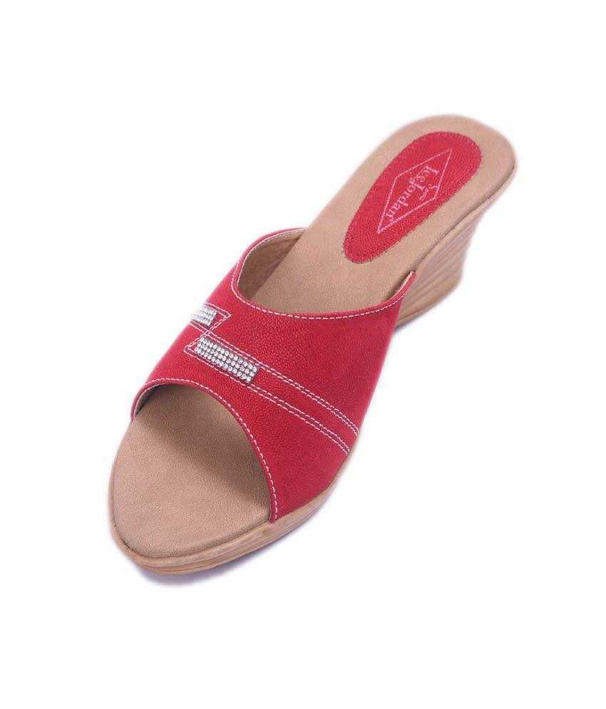 LeeJordan Red Synthetic Leather Back Open Open Toe Wedges