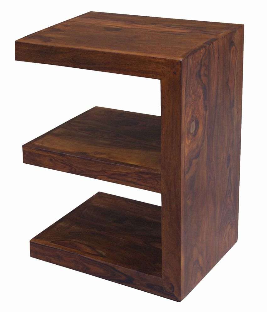 Solid Wood End Table in Mahogany Finish