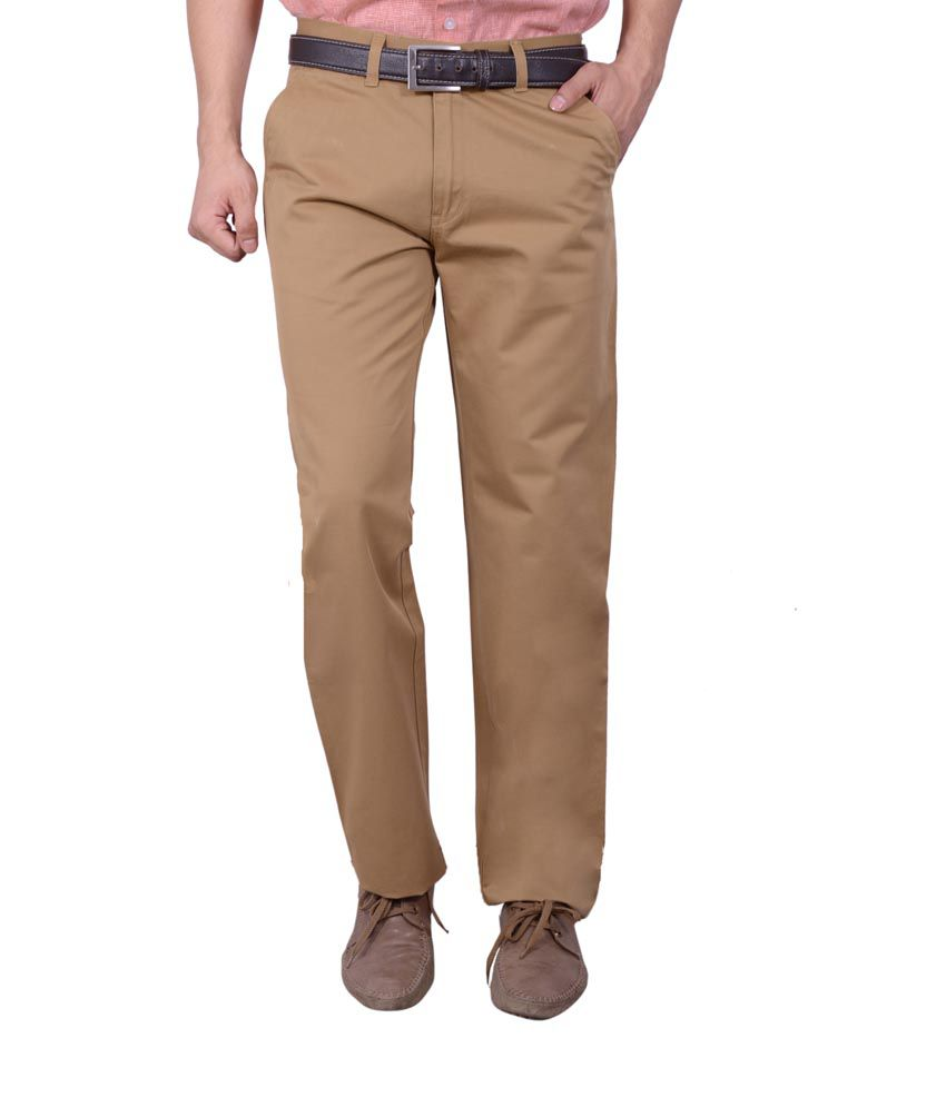 Studio Nexx Khaki Cotton Regular Fit Casual Chinos Trouser