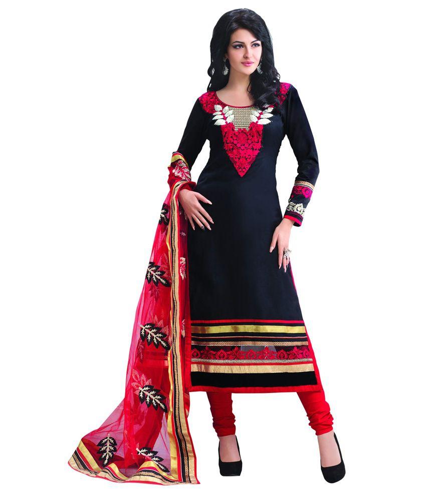 Sunsilk Black Cotton Silk Embroidered Regular Dress Material