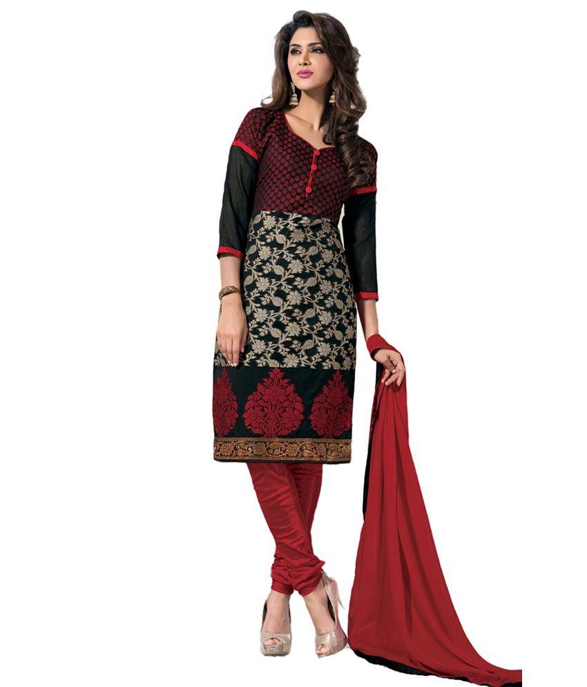 Aquatex Black Embroidered Crepe Jacquard Dress Material