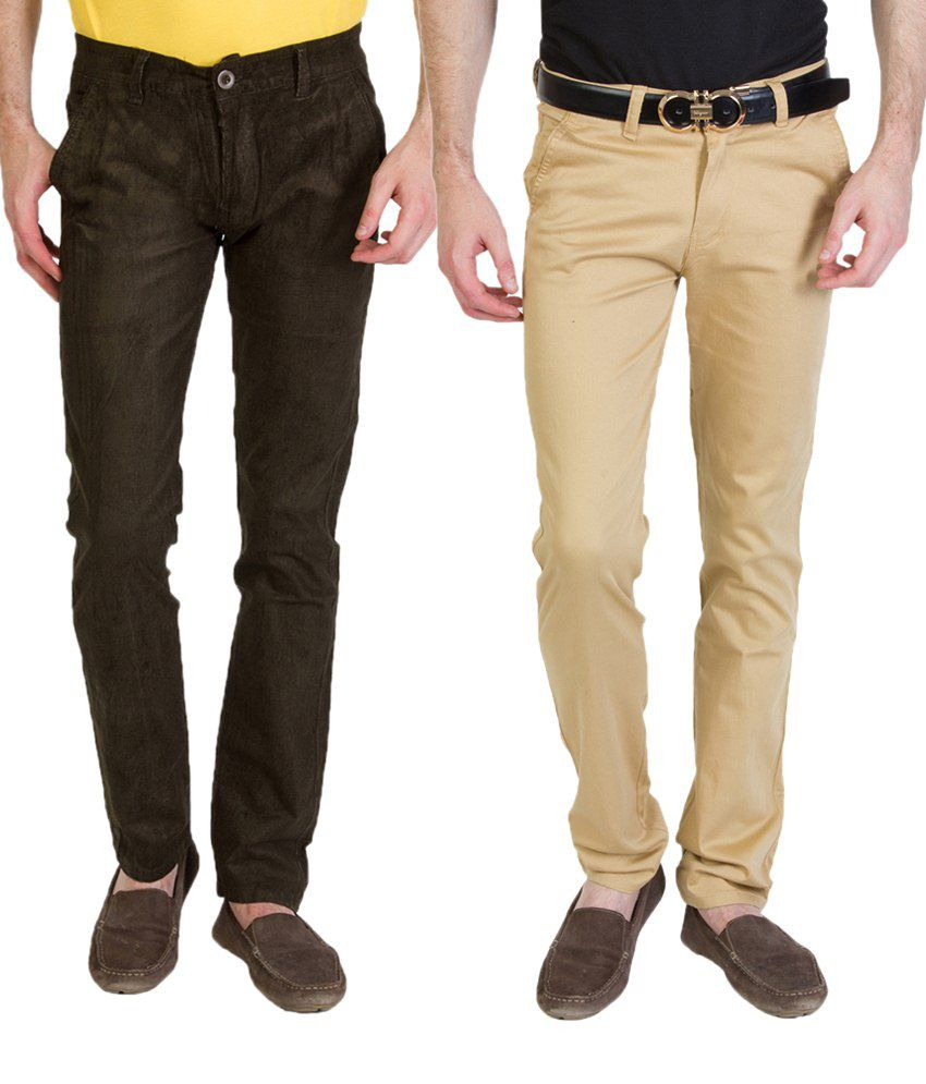 Bloos Jeans Affordable Combo Of 2 Dark Khaki & Brown Chinos For Men