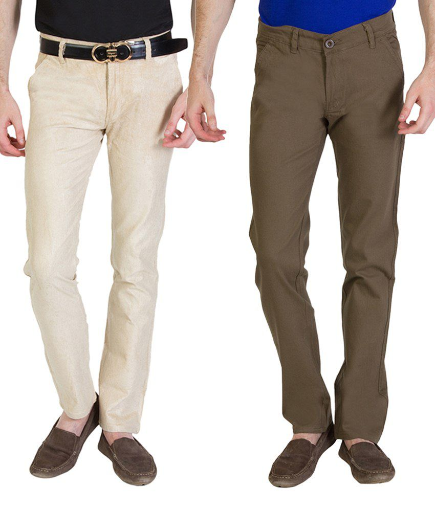 Bloos Jeans Attractive Combo Of 2 Beige & Brown Chinos For Men